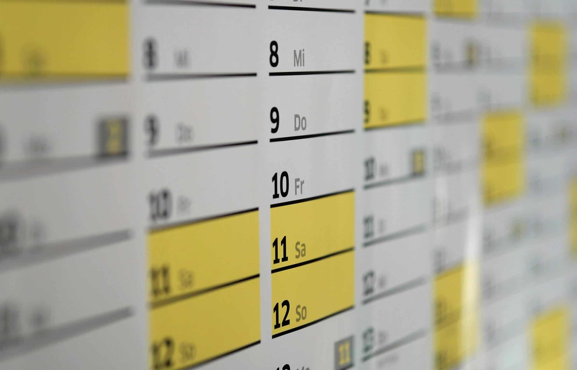 Home working calendar