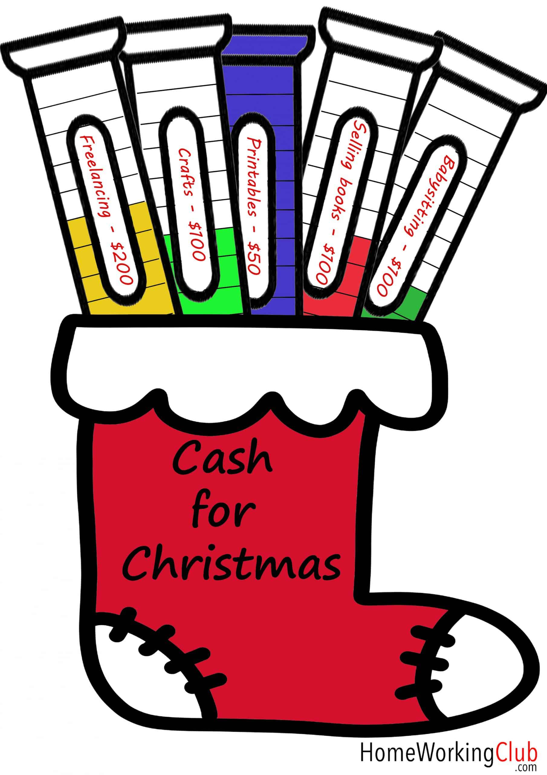 Printable which can be used to track cash for Christmas earnings