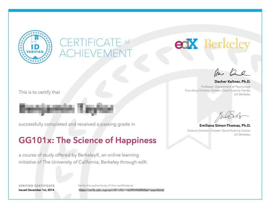 Example freelance training certificate