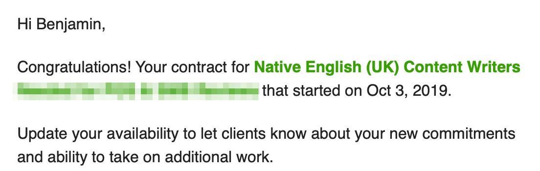 Upwork contract start