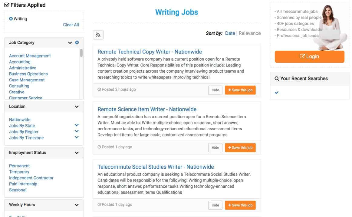 Virtual Vocations Review Job List