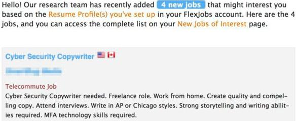 FlexJobs email alert
