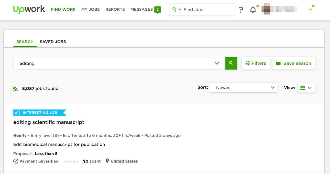 Editing jobs on Upwork