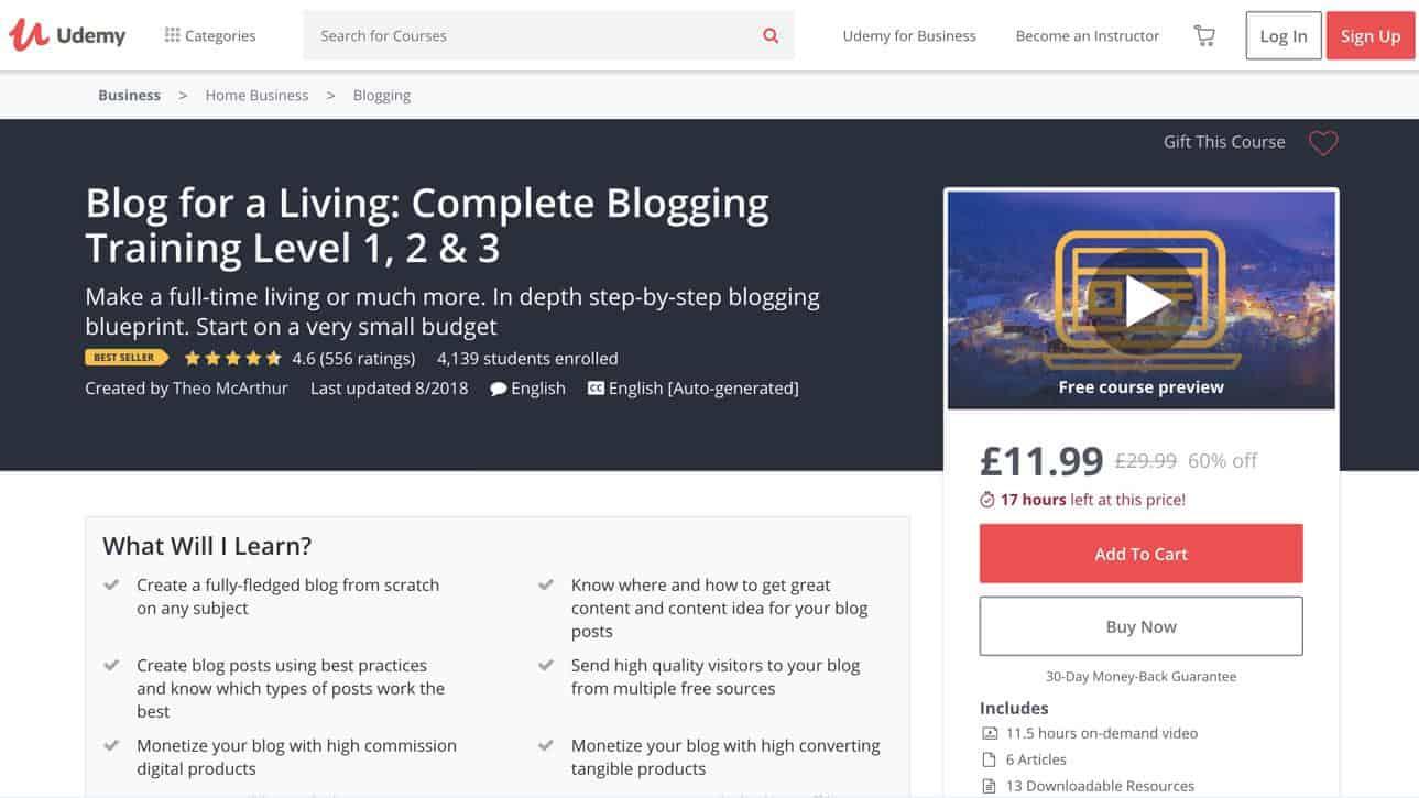 Udemy blogging course