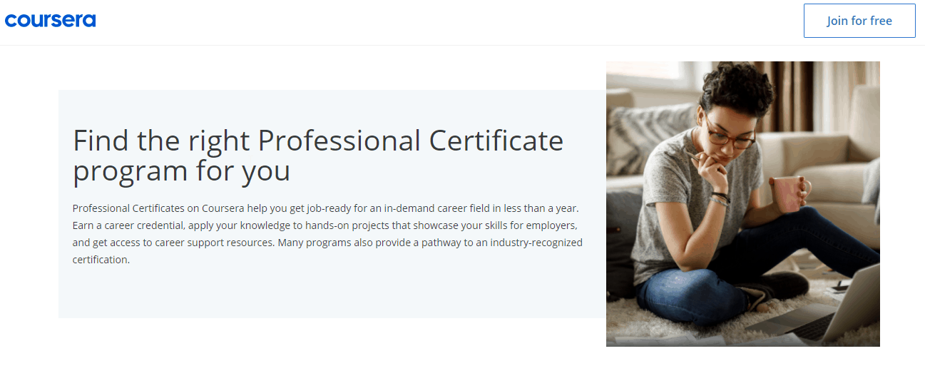 Professional Certificate program from Coursera