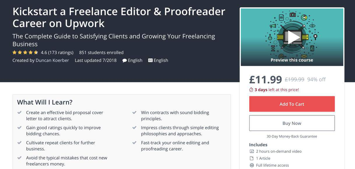 Udemy proofreading course