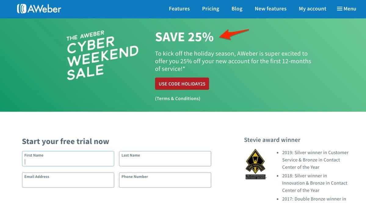 Aweber cyber weekend deal