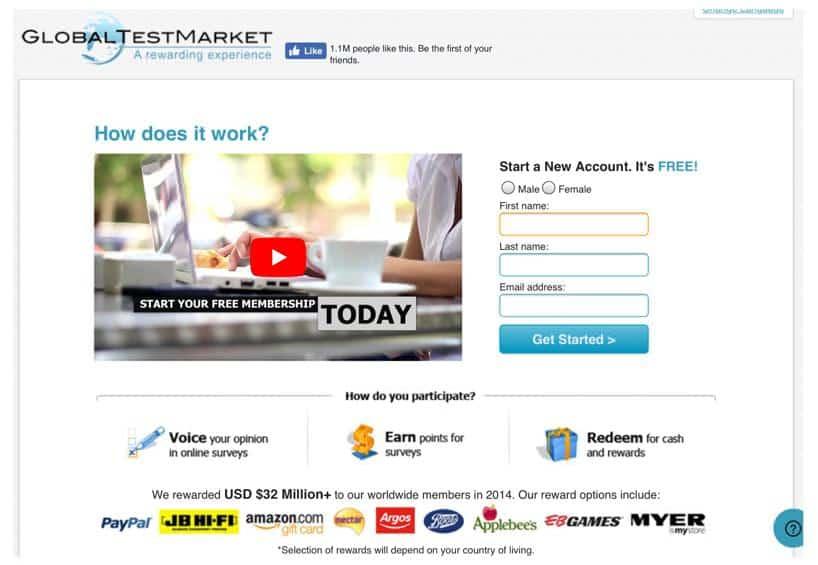 Global Test Market signup