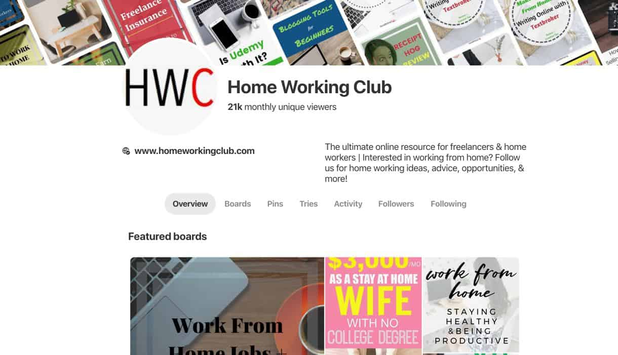 Pinterest Home Working Club