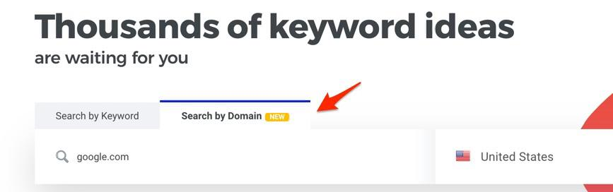 KWFinder search by domain