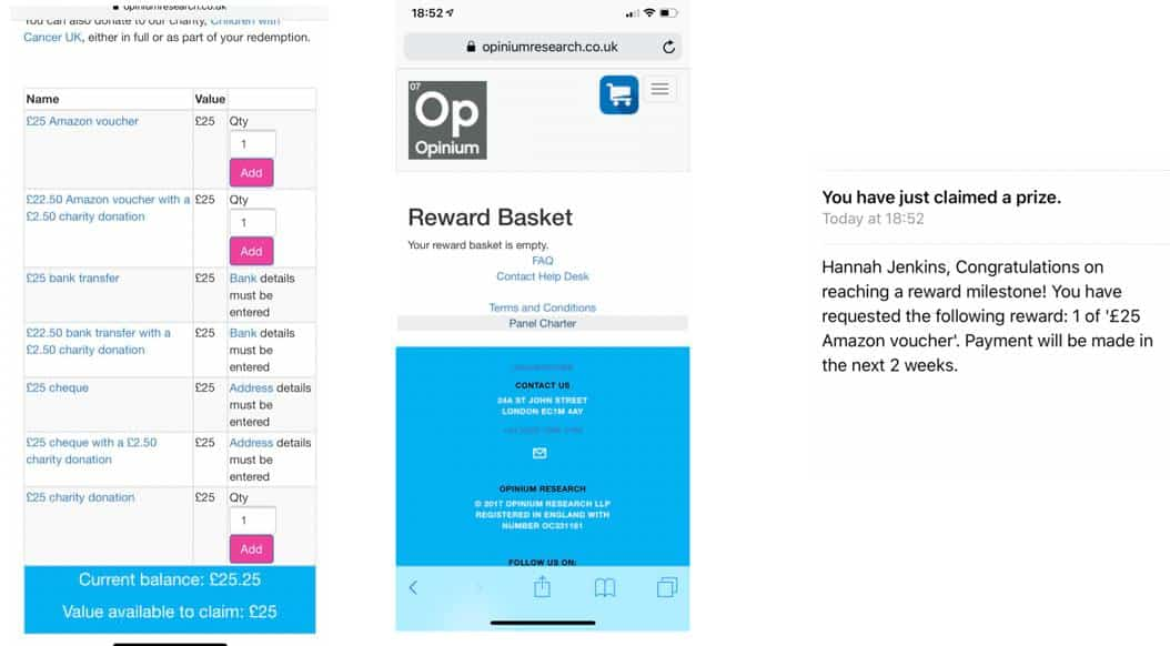 Opinium rewards