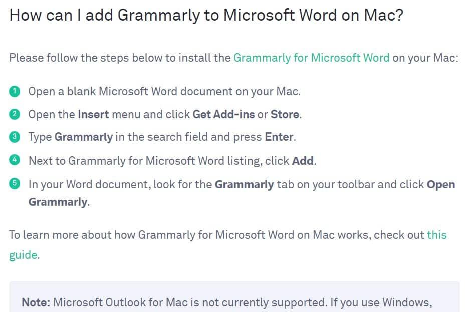 Add Grammarly to Mac Word