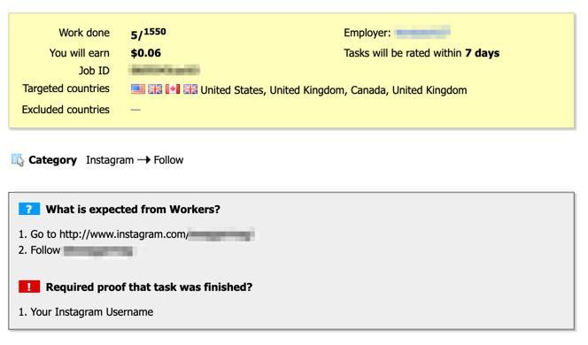 Example social media job