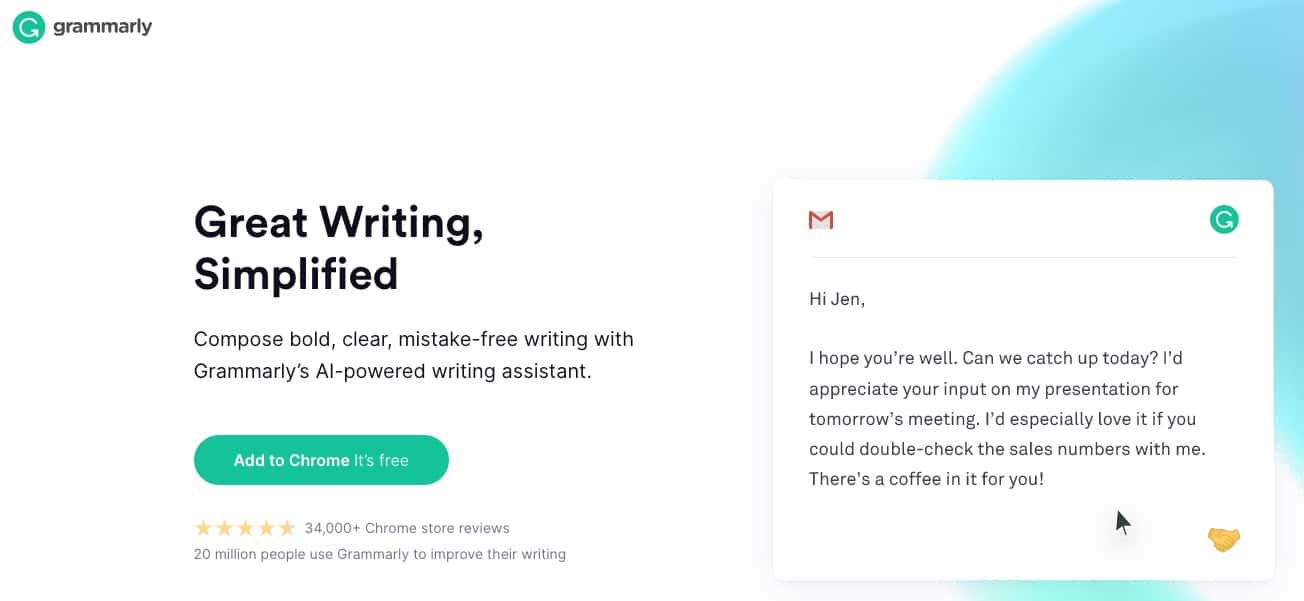 Grammarly web page
