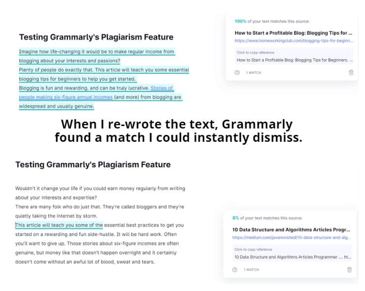 Plagiarism feature tests