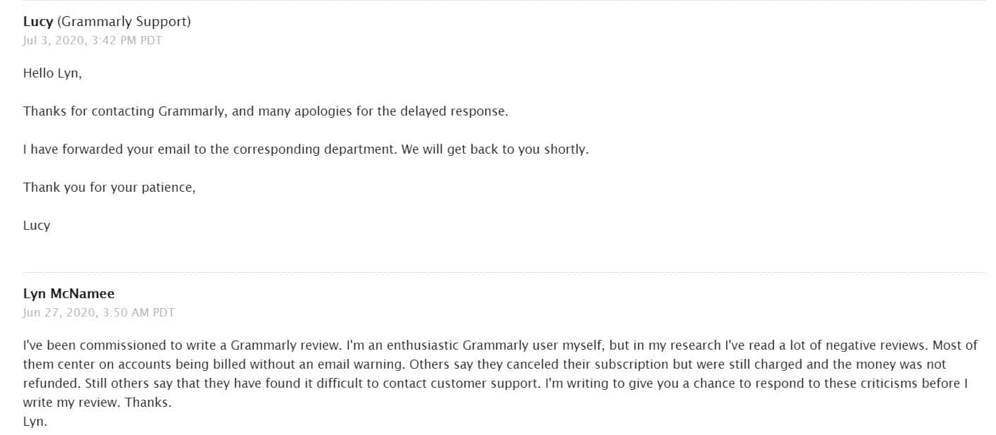 Testing Grammarly customer support