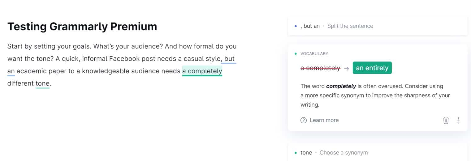 Vocabulary suggestions in Grammarly