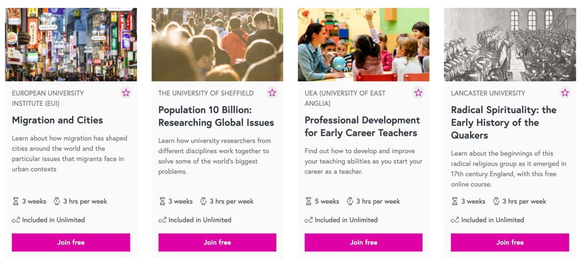 FutureLearn Course Choices