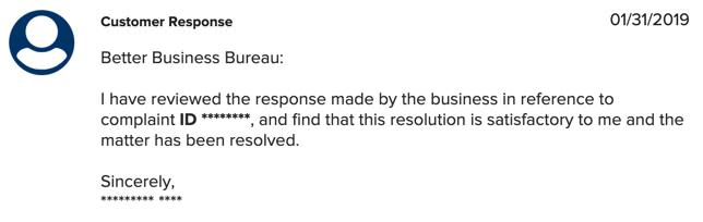 Resolved complaint