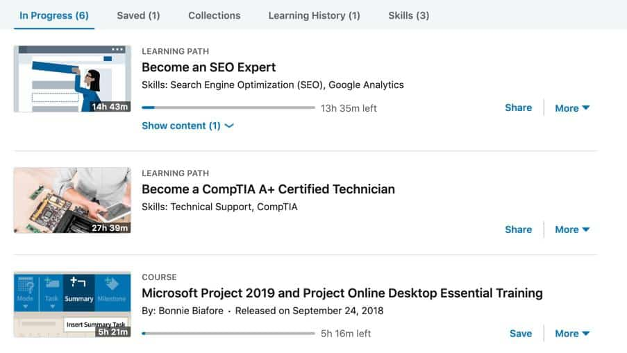 Courses in progress