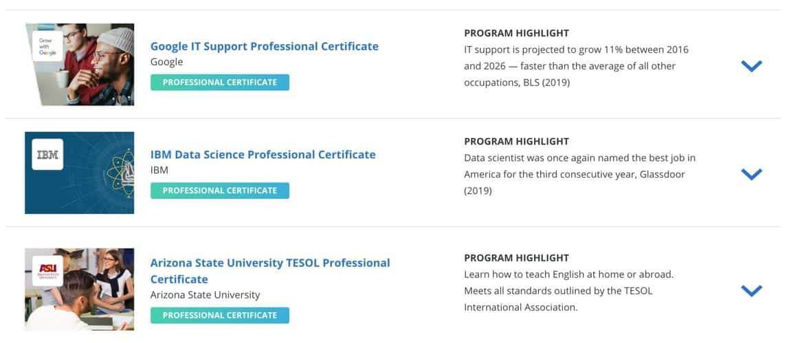 Coursera Certificate Options