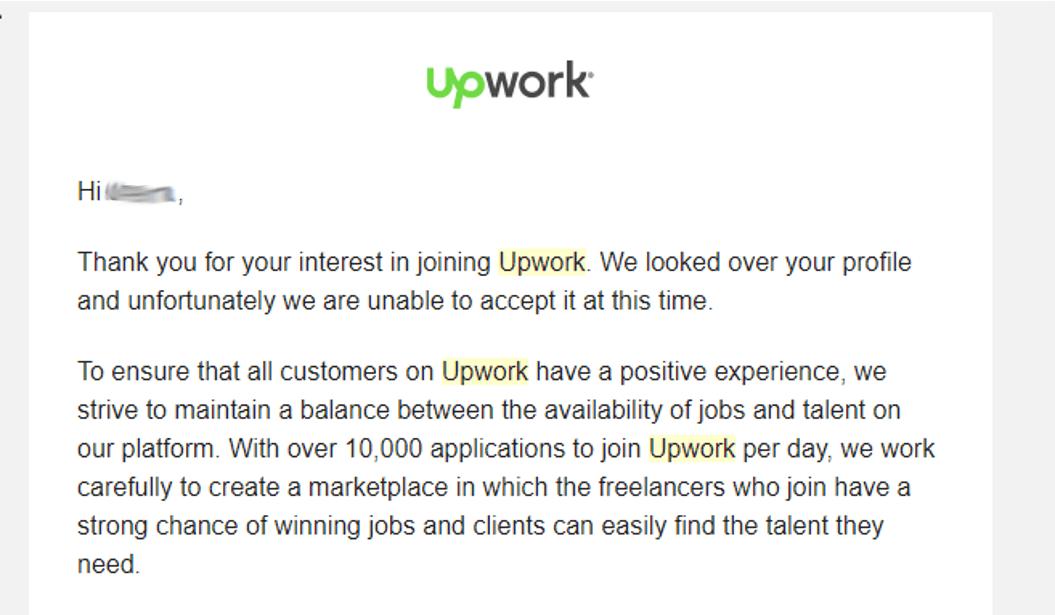 Upwork rejection message