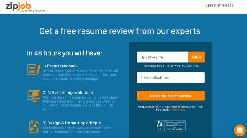 ZipJob resume review