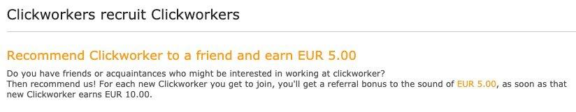 Clickworker referral scheme