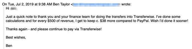 TransferWise payment example