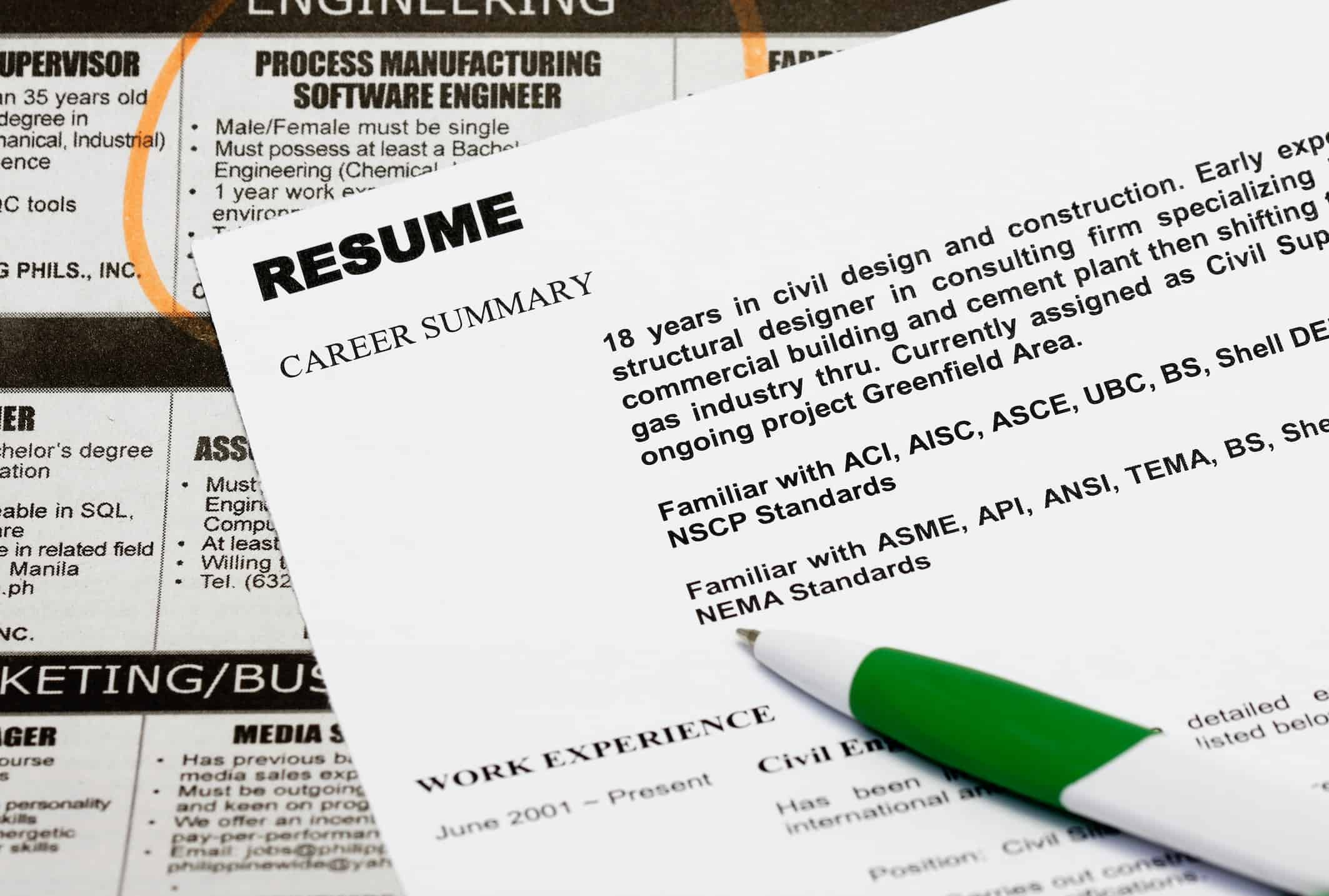 Resume for the right job
