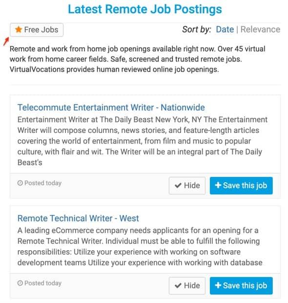 Free job listings on Virtual Vocations