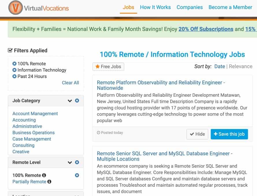 Tech jobs on Virtual Vocations