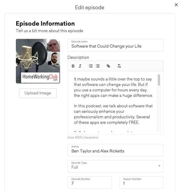 Inputting episode info