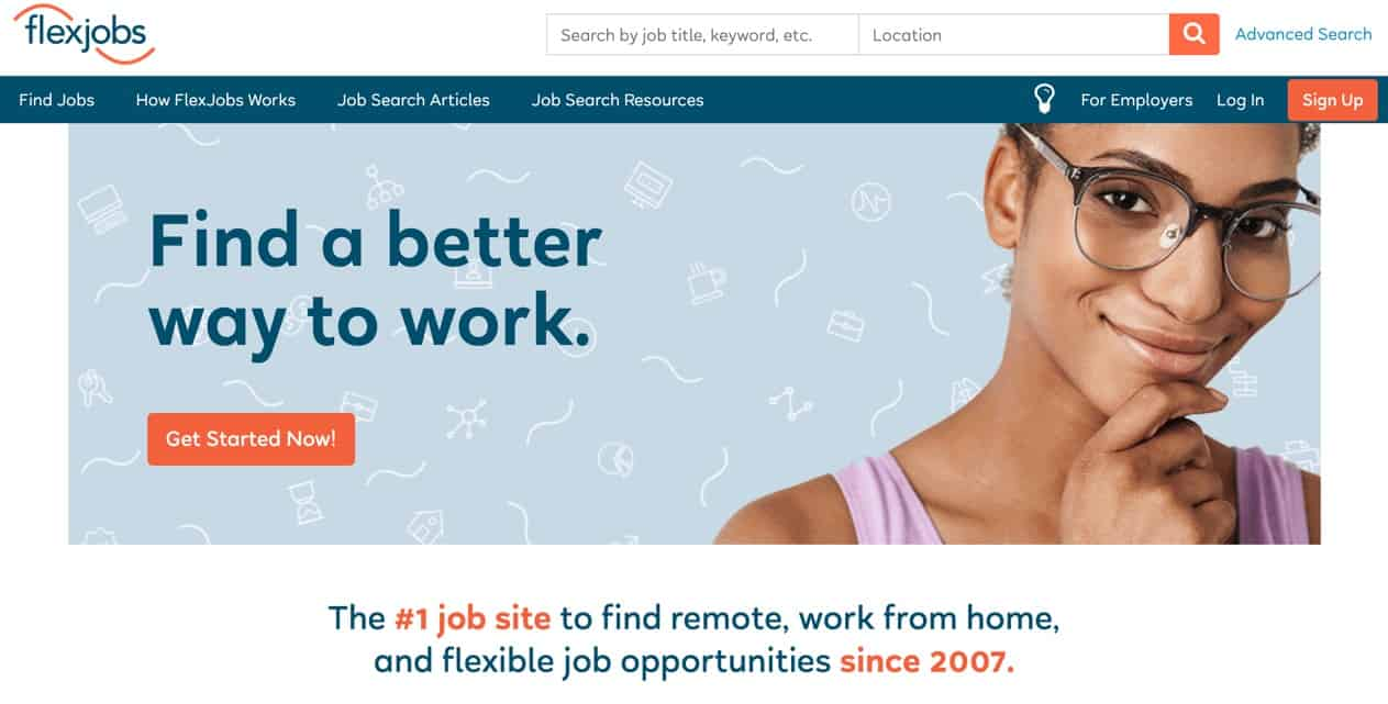 New Flexjobs homepage
