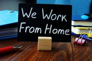 We Work from Home sign