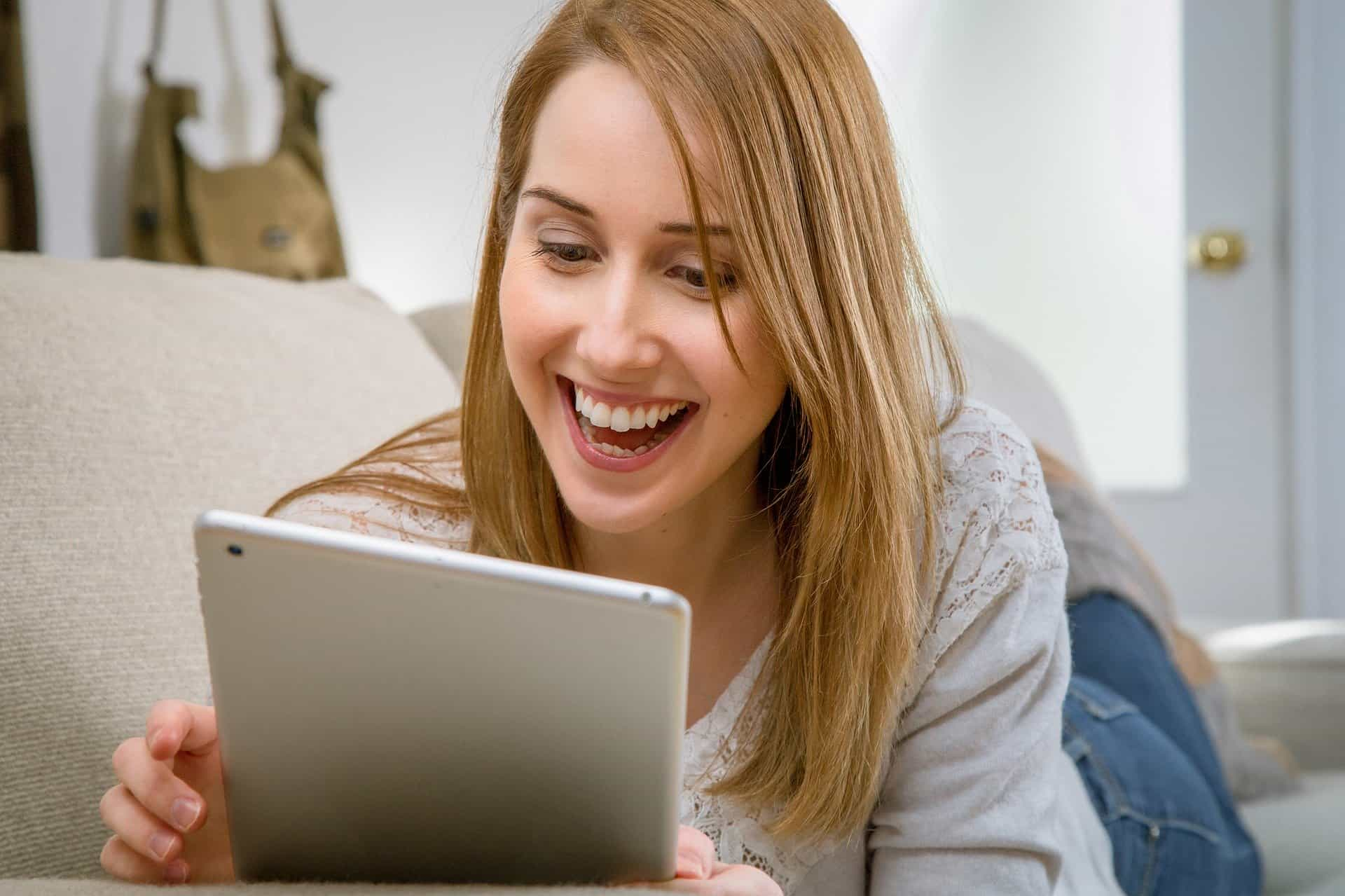 Image showing a female remote worker enjoying a virtual chat