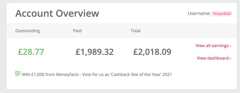 Earnings from TopCashback