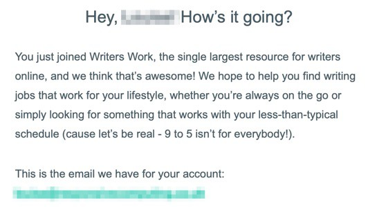 Writers Work Signup Email