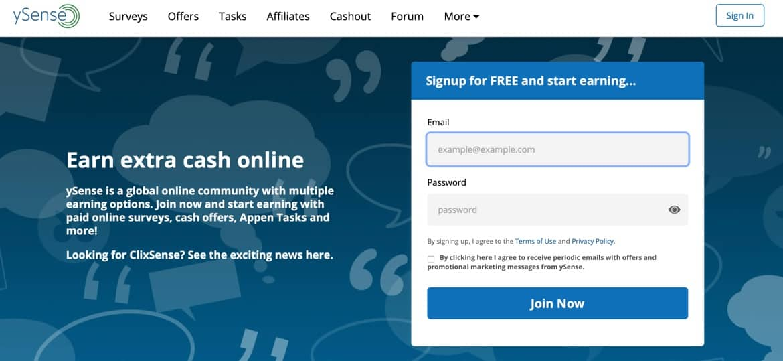 ySense Main Web Page Screenshot