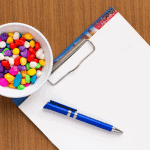 Blogging notepad and sweets