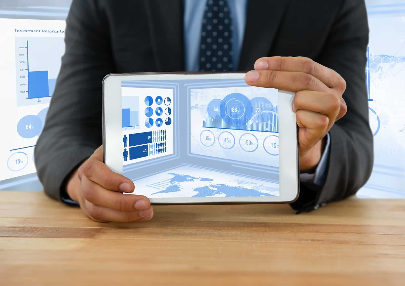 Image of man holding a tablet with freelance statistics