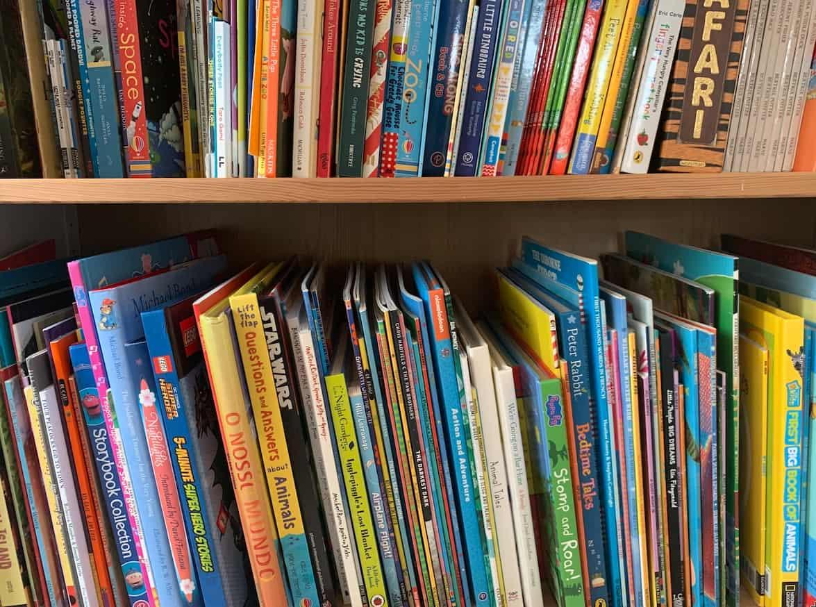 Shelves of childrens books