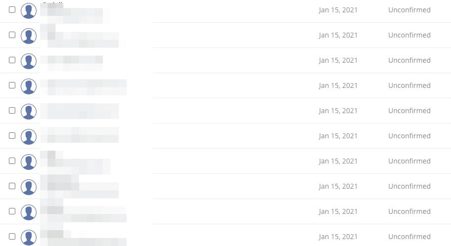 Ten unconfirmed subscribers in one day