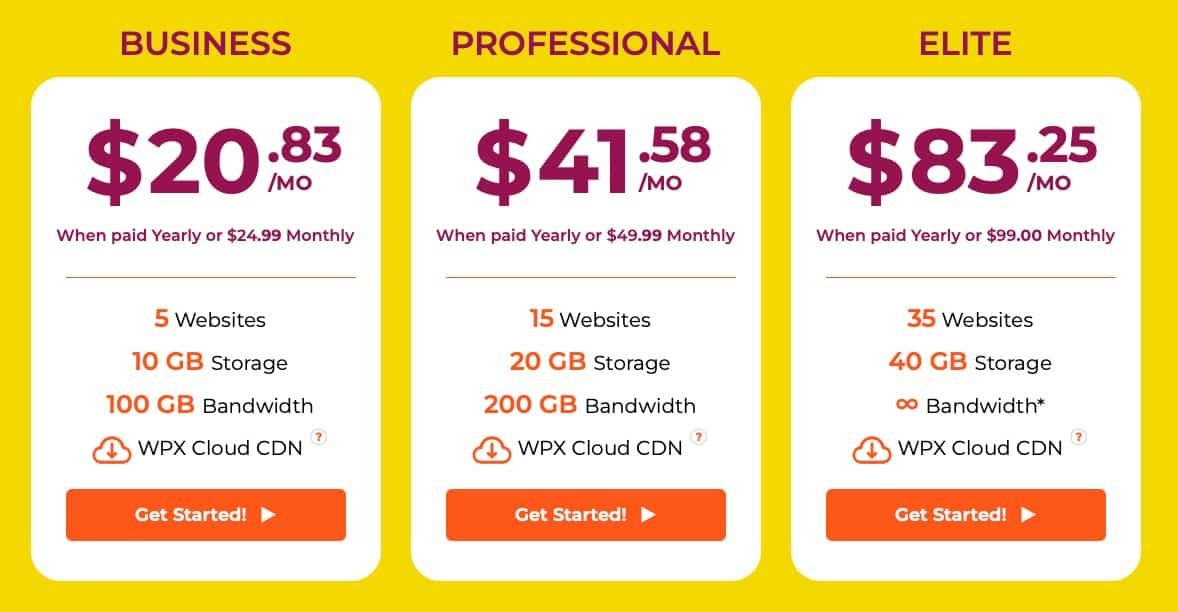 WPX Hosting Pricing Table