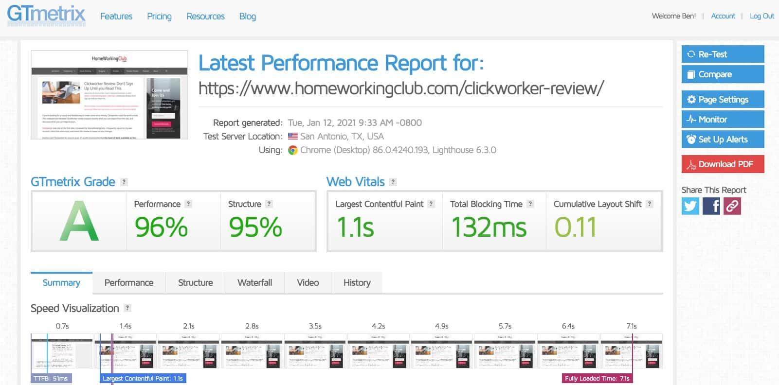Website speed performance