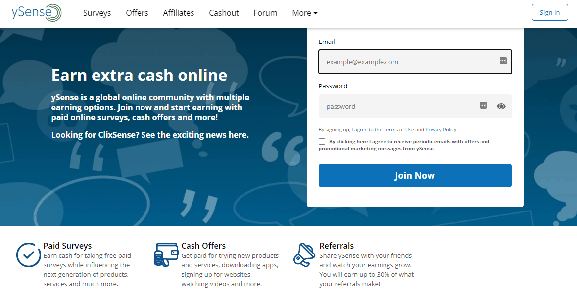 ySense Main Web Page Screenshot