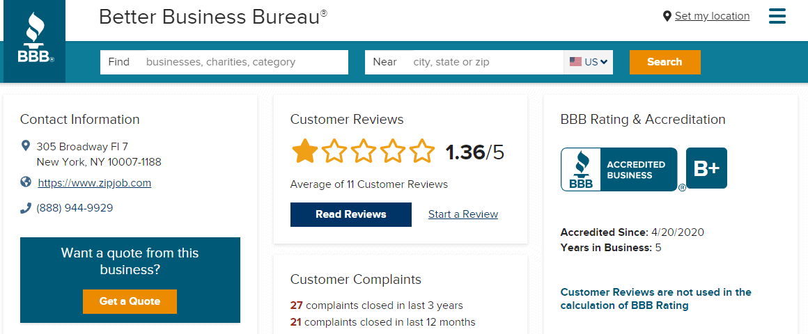 Zipjob review from the Better Business Bureau
