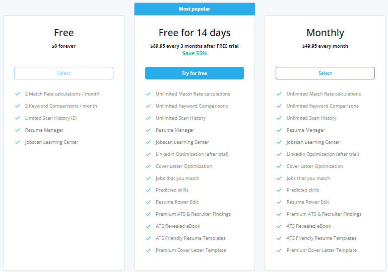 Jobscan pricing