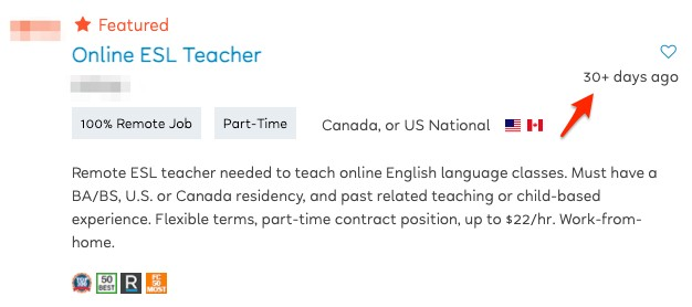 Out of date job listing