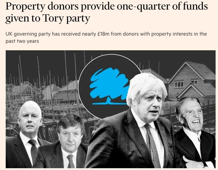 FT Headline about property donors